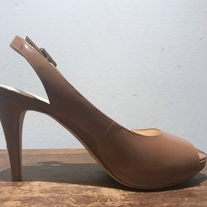 Talbots Edith4 Tan Peep Toe Slingback Pump